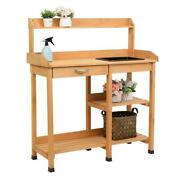 Garden Potting Bench Wooden Garden Work Planting Benches Outdoor With Water Tank