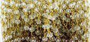 50 Feet Crystal Quartz Rondelle 3-4mm Hydro Beads, Rosary Beaded Chain Gold Wire