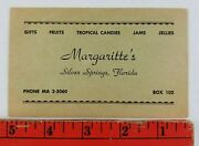 Vintage Margaritte's Gifts Candy Store Silver Springs Florida Business Card