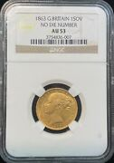1863 Great Britain Sovereign No Die Number Gold Coin Ngc Au 53