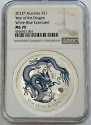 2012 P Silver Australia 1 Colorized Year Of The Dragon White Blue Ngc Ms 70