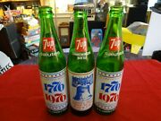 Vintage Old Green 16 Oz Bicentennial 7-up Soda Bottles Lot Of 3 1 With Soda