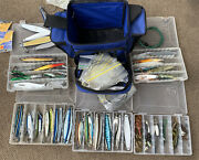 Lot 1 Shimano Bag Full Of Mixed Fishing Lures Hooks Weights ++++