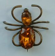 Antique Art Nouveau Deco Spider Bug Faceted Amber Jeweled Czech Glass Brooch Pin