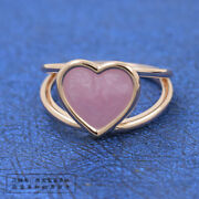 Ogirinal 100 S925 Sterling Silver, Pink Swirl Heart Statement Ring - Rose Gold