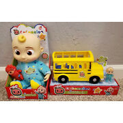 New Set Of Cocomelon Toys Jj Doll Soft 10 Plush And Musical School Bus Bundle