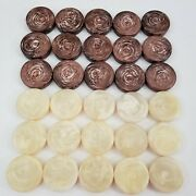 30x Backgammon Checkers Crisloid Large 1 3/4 By 7/16 Chocolate Swirl 18g Each