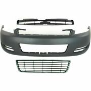 New Front Bumper Cover Primed Upper And Lower Grille For Chevrolet Impala 06-11