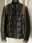 Etro Puffer Down Shearling Collar Leather Suede Bomber Jacket Brown Taupe Coat