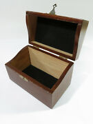 Antique Mid 1900s Solid Oak 3x 5 Recipe Card Filing Box With Catch.