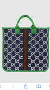 Gg Tote Bag School College Green Blue Woman Unisex Authentic Sold Out New