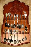 Lot 16 Collecters Souvenir Spoons From Foreign Countries + Wood Display Board