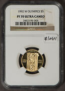 1992 W 5 Gold Commemorative Olympics Proof Coin - Ngc Pf 70 Uc - Sku-z1064