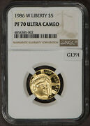 1986 W 5 Gold Commemorative Liberty Proof Coin - Ngc Pf 70 Uc - Sku-z1062
