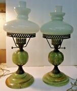Antique Or Vintage Jade Table Lamps - Set Of 2 - Milk Glass Shades And Chimneys