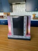 Vintage Art Deco Ceramic Pink And Black And Silver Vase Heavy And Sturdy