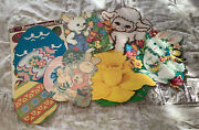 Vintage Easter Diecut Cardboard Cutout Decorations Lot Of 8 Window Clings  3