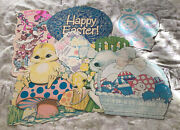 Vintage Easter Diecut Cardboard Cutout Decorations Lot Of 7  2