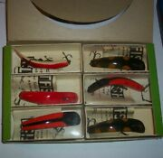 Six New Helin U20 Flatfish Fishing Lures And Original Dealer Box And Boxes/papers