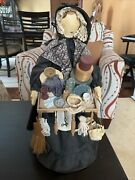 16andrdquo Rare Antique Peddler Doll With Dome Of Many Kitchen Items In 18 Cent. Style