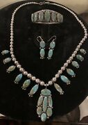 Estate Navajo Fox Turquoise Set Necklace Cuff Earrings Sterling Silver
