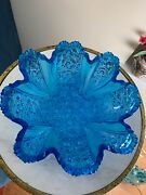 Large Vintage Eapg Beautiful Vintage Blue Daisy And Buttons Glass Bowl