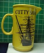 Vintage Cutty Sark Scots Whisky Yellow Ceramic Jug Bar Pitcher Pub Whiskey