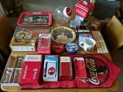 Huge Lot Of Coca Cola Coin Bank Cookie Jar Diecast Signs Tray Tins