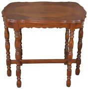 Vintage Jacobean Walnut Rectangular Scalloped Side End Accent Parlor Table 32