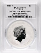 2020 P 1 Iwo Jima 75th Anniversary 1oz Silver Coin Pcgs Ms70 First Day Of Issue