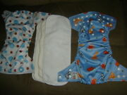 2 Baby Cloth Diapers By Kawaii And 4 Inserts Aio Snaps One Size Lot Ee
