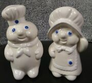 1988 Pillsbury Doughboy Large Poppin And Poppie Fresh Salt And Pepper Shakers
