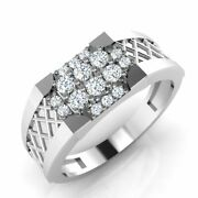18kt White Gold 0.29 Ct Real Diamond Wedding Menand039s Rings Size 9 10 11 Certified