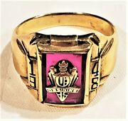 Solid 10k Yellow Gold Ossining Ny School Class 1948 Ring Dieses And Clust 7.8 Gram