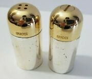 Vintage Salt And Pepper Shakers Bullets Two Toned Silver And Gold Rare