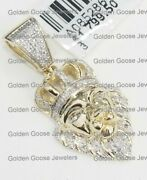 Real 10k Yellow Gold Natural Diamond Lion Face King Crown Jungle Charm Pendant