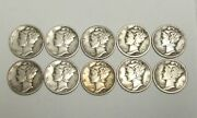 Mercury Dimes 90 Silver 1917-1945 Mixed Date Lot Of 10
