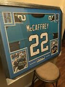 Christian Mccaffrey Authentic Autographed Framed Jersey Coa Panthers Nfl