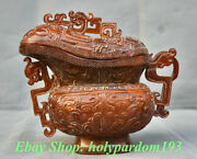 8 Marked Old Chinese Ox Horn Dynasty Carved Beast Oxhorn Drinking Cup