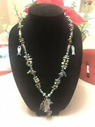 Estate Turquoise Agate Fish Necklace 26-30andrdquo Sterling Clasp Mixed Metal Parts