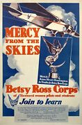 Original Female Aviation Poster Betsy Ross Corps Mercy From The Skies C1931