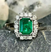 18k White Gold Intense Green Aaa Colombian Emerald And Diamonds Cluster Ring