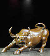 China Pure Red Copper Feng Shui Animal Ox Oxenwall Stree Cow Cattle Bull Statue