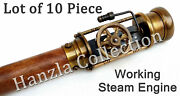 Lot Of 10 Pieces Vintage Working Steam Engine Model Wooden Walking Cane Stick