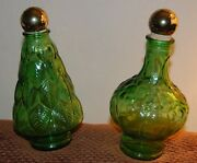 Wheaton Green Glass Bottles With Cork Tops -2