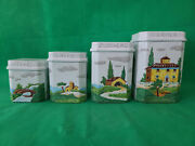 Cottura Hand Made Painted Italian Pottery Scenery 4 Kitchen Containers