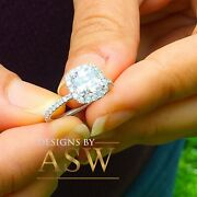 Elegant Womenand039s 14k Solid White Gold Cushion Cut Forever One Moissanite And Diam
