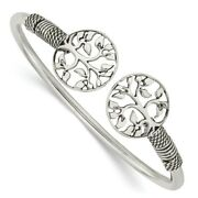 925 Sterling Silver Tree Flexible Bangle Bracelet Cuff Expandable Stackable