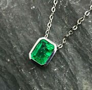 1.91ct Aaa Natural Colombian Emerald Solitaire Necklace 18k White Gold