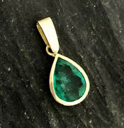 2.59ct Aaa Natural Colombian Emerald Solitaire Pendant Bezel 18k Yellow Gold